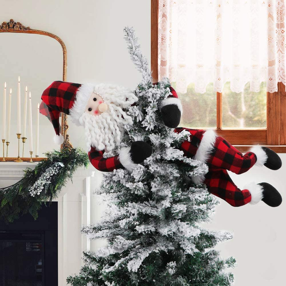 XAMSHOR Plush Santa Head and Bottom Pick Red and Black Plaid Buffalo Tree Topper Christmas Tree Hugger Stuck in The Tree on Bendable Stick for Xmas Decorations Ornaments