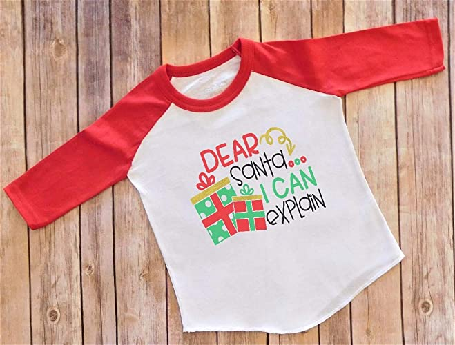 5e0f2bbfc33e9 Amazon.com: 4T Christmas Shirt Red Raglan Dear Santa I Can Explain ...