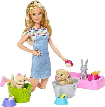 Barbie Play 'N' Wash Pets Doll & Playset, Multicolor