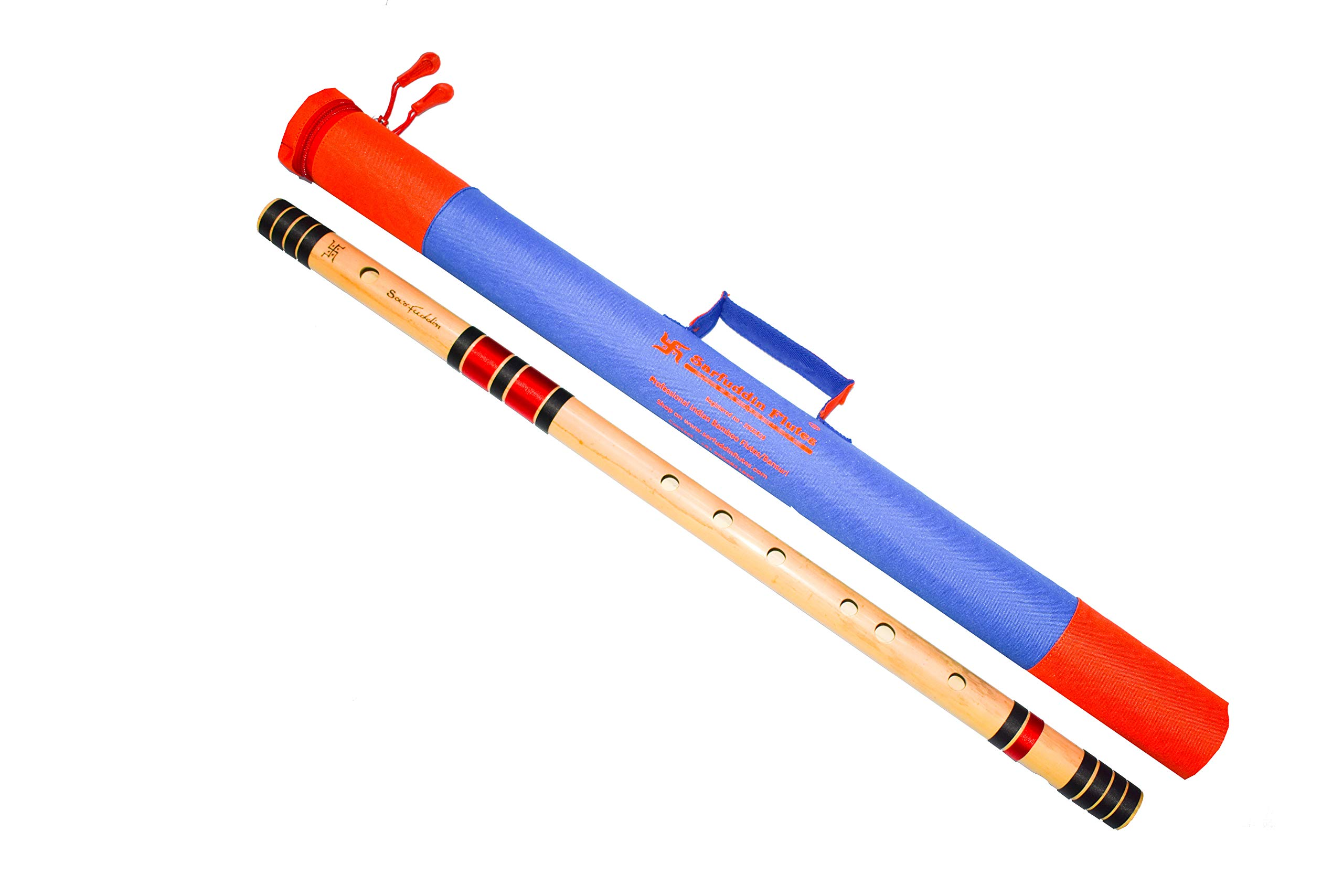 Sarfuddin Flutes, Scale G Natural Base 25 Inches Bamboo Flutes/Bansuri Carry bag FREE product image