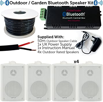 Exterior/Externo Bluetooth Sistema de Altavoces – Cerveza jardín/Fiesta Barbacoa Kit – 30 W Mini Wireless Amplificador & 4 x 60 W Blanco Impermeable Altavoces – cablefinder: Amazon.es: Electrónica