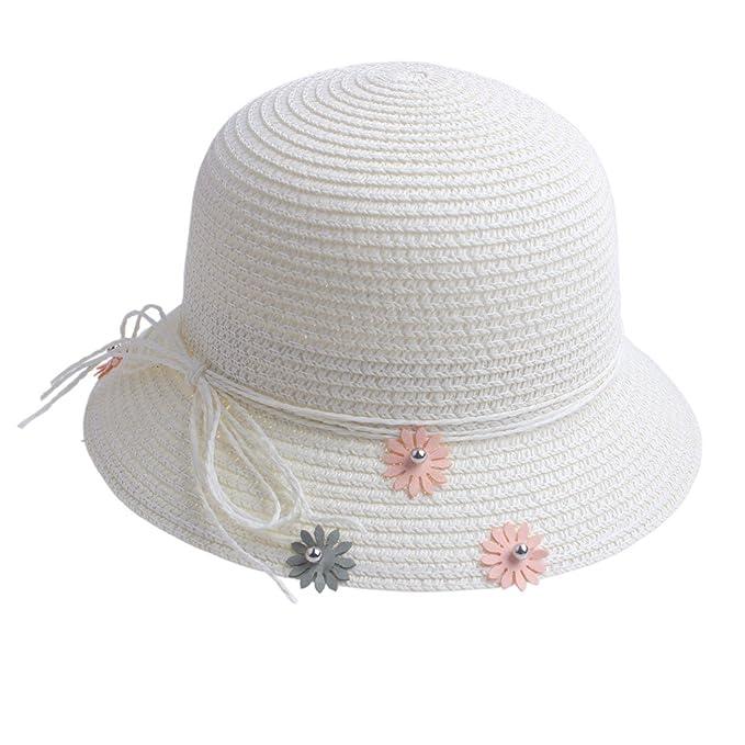 KimmyKu - Sombrero - para niña Blanco Blanco Medium  Amazon.es  Ropa y  accesorios 5b85fb61b5a