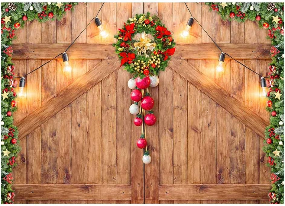 Amazon Com Funnytree 7x5ft Rustic Christmas Barn Door Backdrop For Photography Merry Xmas Wood Texture Board Wall Floor Party Background Holiday Baby Portrait Photobooth Banner Decorations Photo Studio Prop Camera