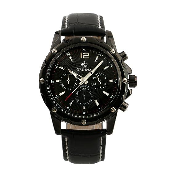 Cuarzo Plata Para Hombre Reloj Analógico Cuadro Hombre del Ejército Correa Cuero Negro Seis Manos: Amazon.es: Relojes