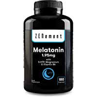 Melatonina 1,95 mg con 5-HTP, Magnesio y Vitamina B6, 180 Cápsulas | Ayuda con el insomnio o trastornos del sueño…