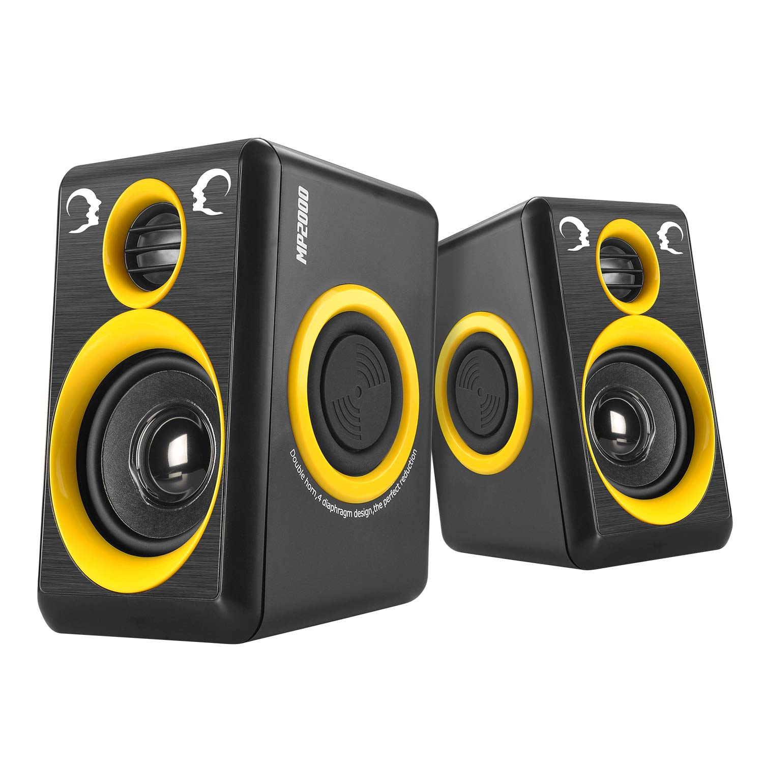 USB Powered 3.5mm Aux Small PC Laptop Speakers with 4 Bass Diaphragm Subwoofer Computer Speakers Reccazr MP2000 Stereo 2.0 Wired Multimedia Speakers Yellow