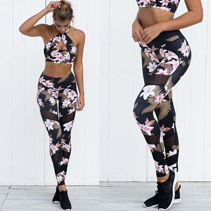 Pantalones de Yoga para Mujeres,❤ Absolute Imprimir Mujer Cintura Alta Deportes Gimnasio Yoga Corriendo Fitness Leggings Pantalones Athletic Pantalón: ...