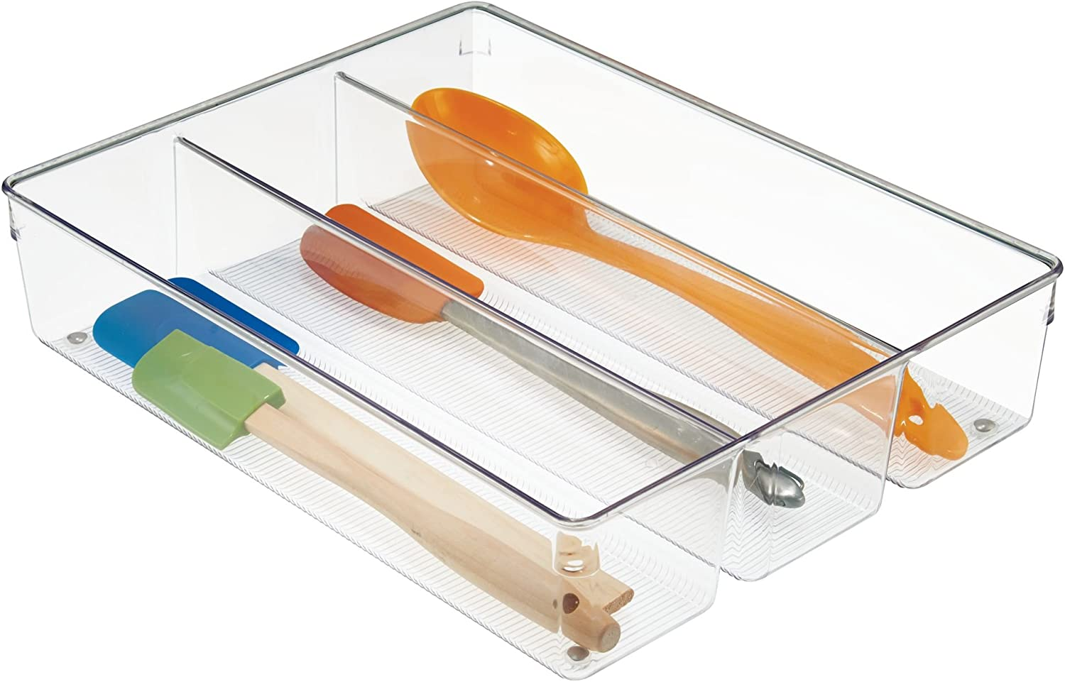 iDesign Linus Kitchen Drawer Organizer for Silverware, Spatulas, Gadgets - Clear