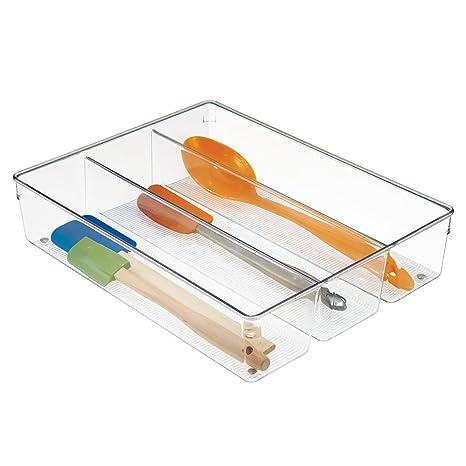iDesign Cubertero para dividir cajones, organizador de cajones grande de plástico con 3 compartimentos, separador de cajones para cubiertos y ...
