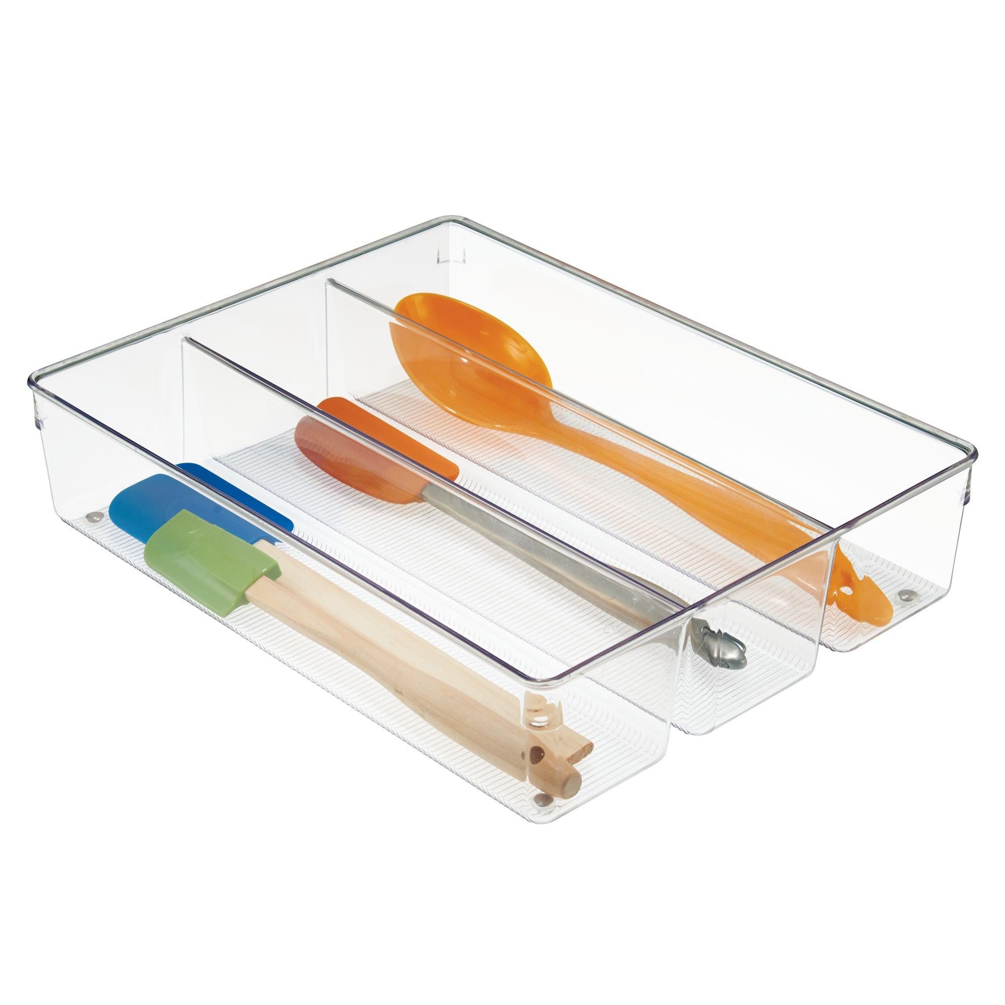 InterDesign Linus Kitchen Drawer Organizer for Silverware, Spatulas, Gadgets - 13.8'' x 10.5'' x 3'', Clear