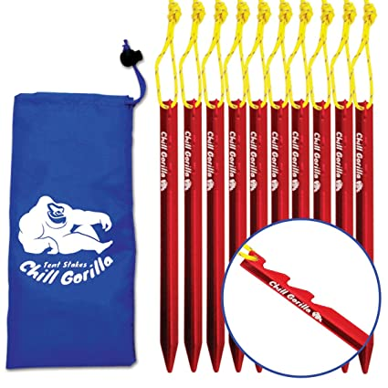 Chill Gorilla 10X tent stake. Heavy duty lightweight strong aluminum alloy pegs for c&ing  sc 1 st  Amazon.com & Amazon.com : Chill Gorilla 10X tent stake. Heavy duty lightweight ...