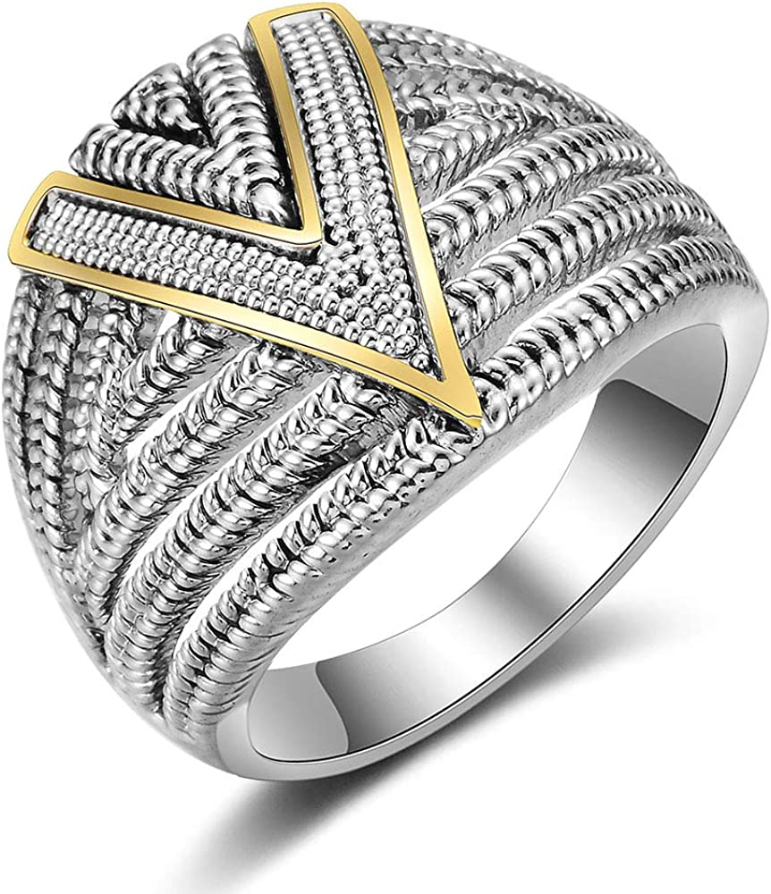 Mytys Silver 2 Tone Wide Statement Rings Vintage Cable Wire Crossover Chunky Band Rings for Women Men