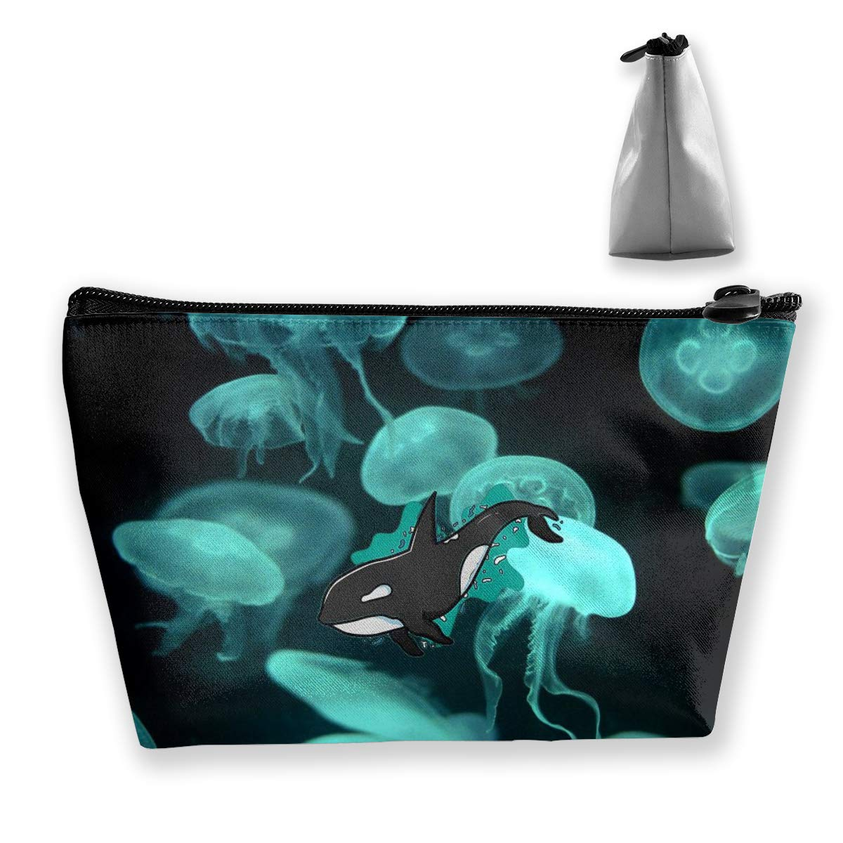 pengyong Beautiful Jellyfish Deep Sea Creature Makeup Bag Large Trapezoidal Storage Travel Bag Wash Cosmetic Pouch Pencil Holder Zipper Waterproof