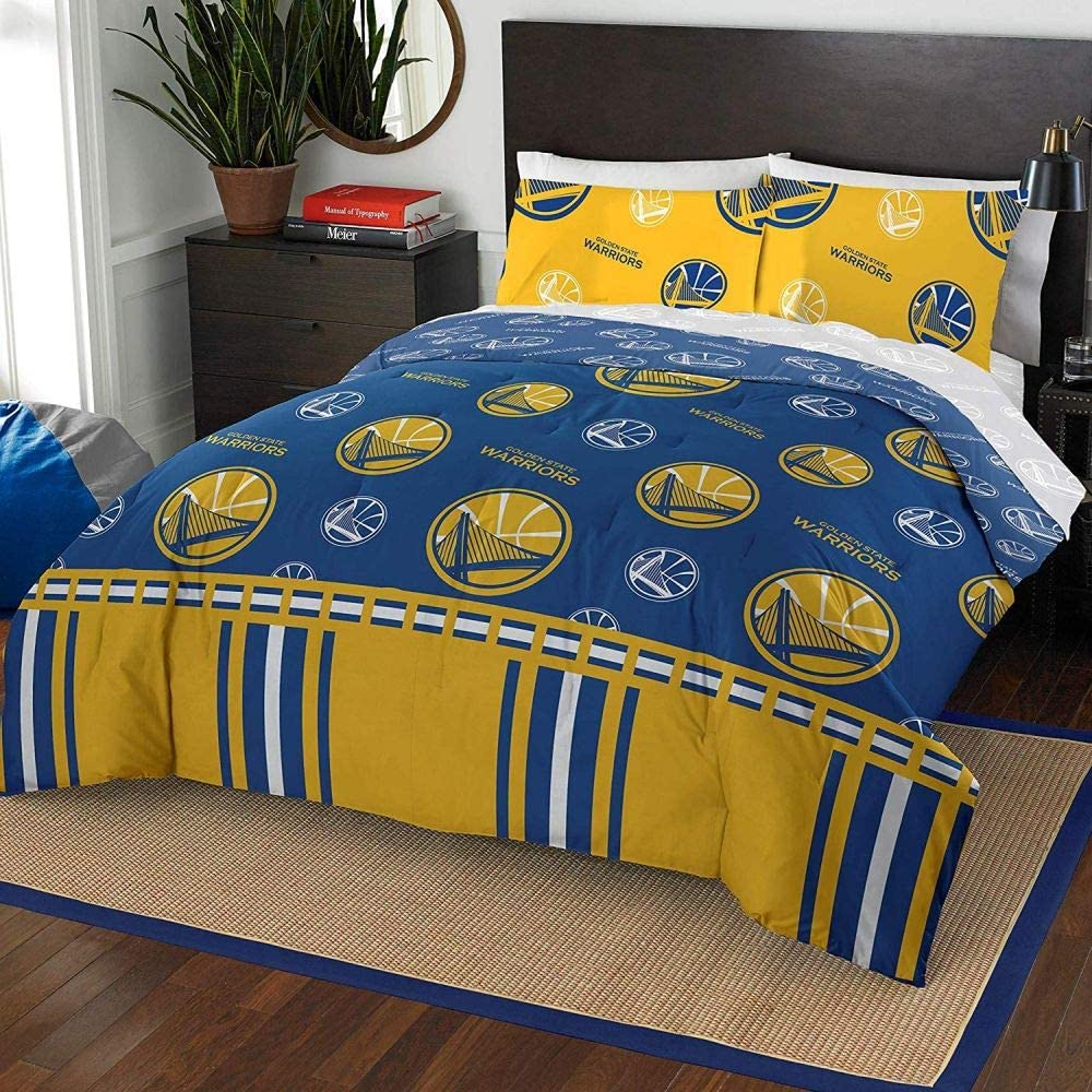 HNU NBA Golden State Warriors Queen Comforter Set,Yellow Blue Bedding Set,Bridge Print Cool Boys Sports Fan Frenzy Medallion All Over Printed Fancy Basketball California Reversible Machine Washable