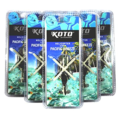 Koto Helicopter Car Air Freshener Pacific Breeze Scent, Lasts Over 30 Days, Attaches to Air Vent, Helicopter Design Spins With Air Flow, Odor Eliminating Air Freshener 6 Per Pack: Automotive