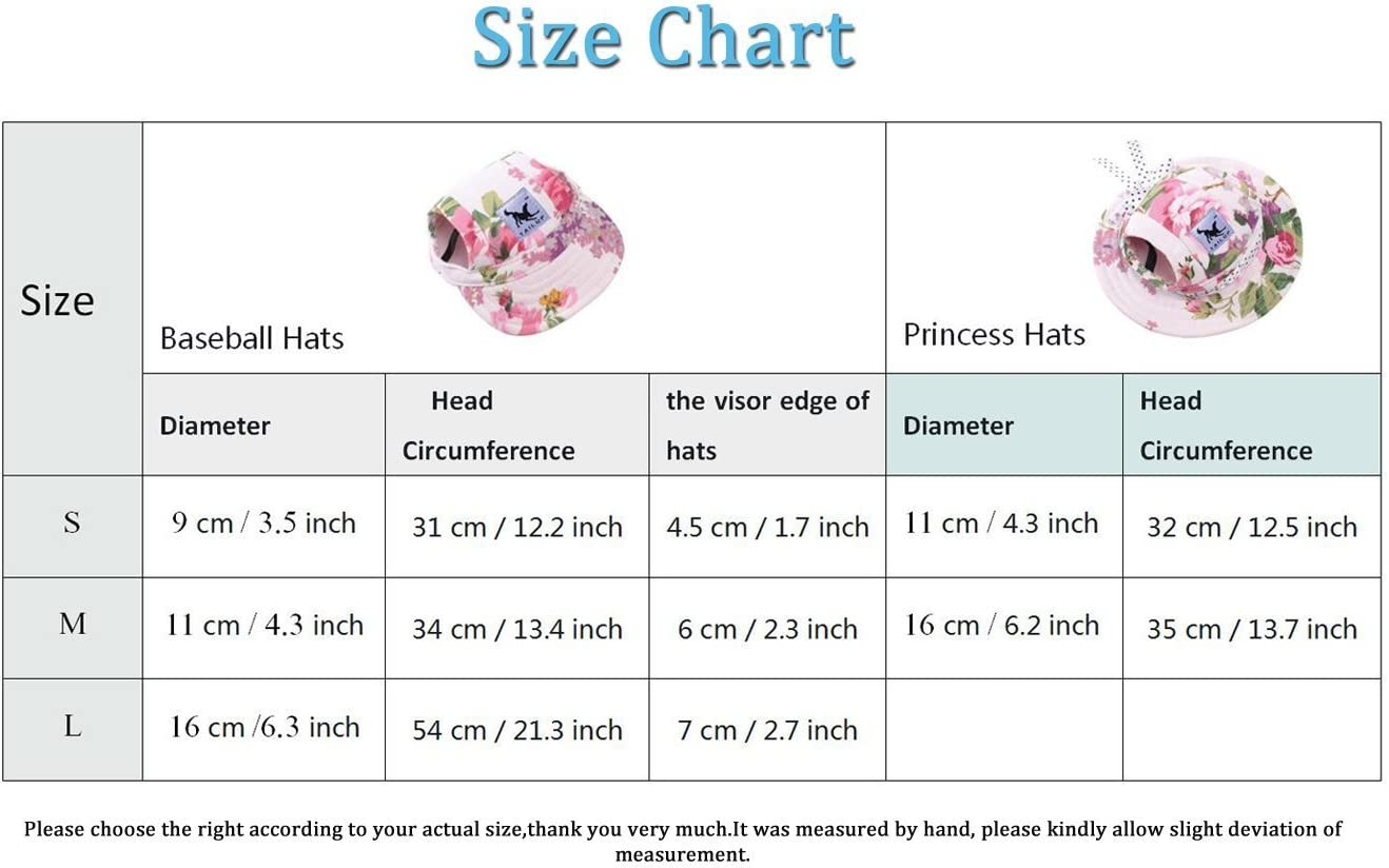 BbearT/® Pet Dog Hats,Casual Visor Pet Hats Dogs Baseball Sun Hats Sport Cap with Ear Holes and Chin Strap for Small Dogs M, Flower