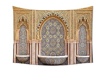 Pièce Tapisserie Décor Marocain Typique Marocain Striée Fontaine