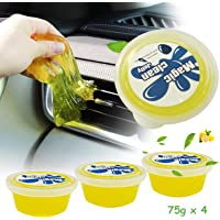 AnvFlik 4-Pack Car Interior Detailing Mud Cleaner, Reusable Universal Dust Magic Cleaning Gel for PC Tablet Laptop Keyboards, Cameras, Air Vents,Jelly Cup Lemon Flavor Cleaning Gel Slime 75g x 4