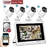 """Caméra de Surveillance YESKAMO 1080P Système de Caméra sans Fil avec 4CH 2.0 Mégapixels Moniteur 12"""" et 4 HD IP Wifi Cameras de Sécurité Intérieur et Extérieur Maison Télésurveillance Vidéo CCTV Kits Disque Dur de 2TB Détection de Mouvement Vision Nocturne Imperméable IP66 Accès à Distance Par Smartphone et PC"""