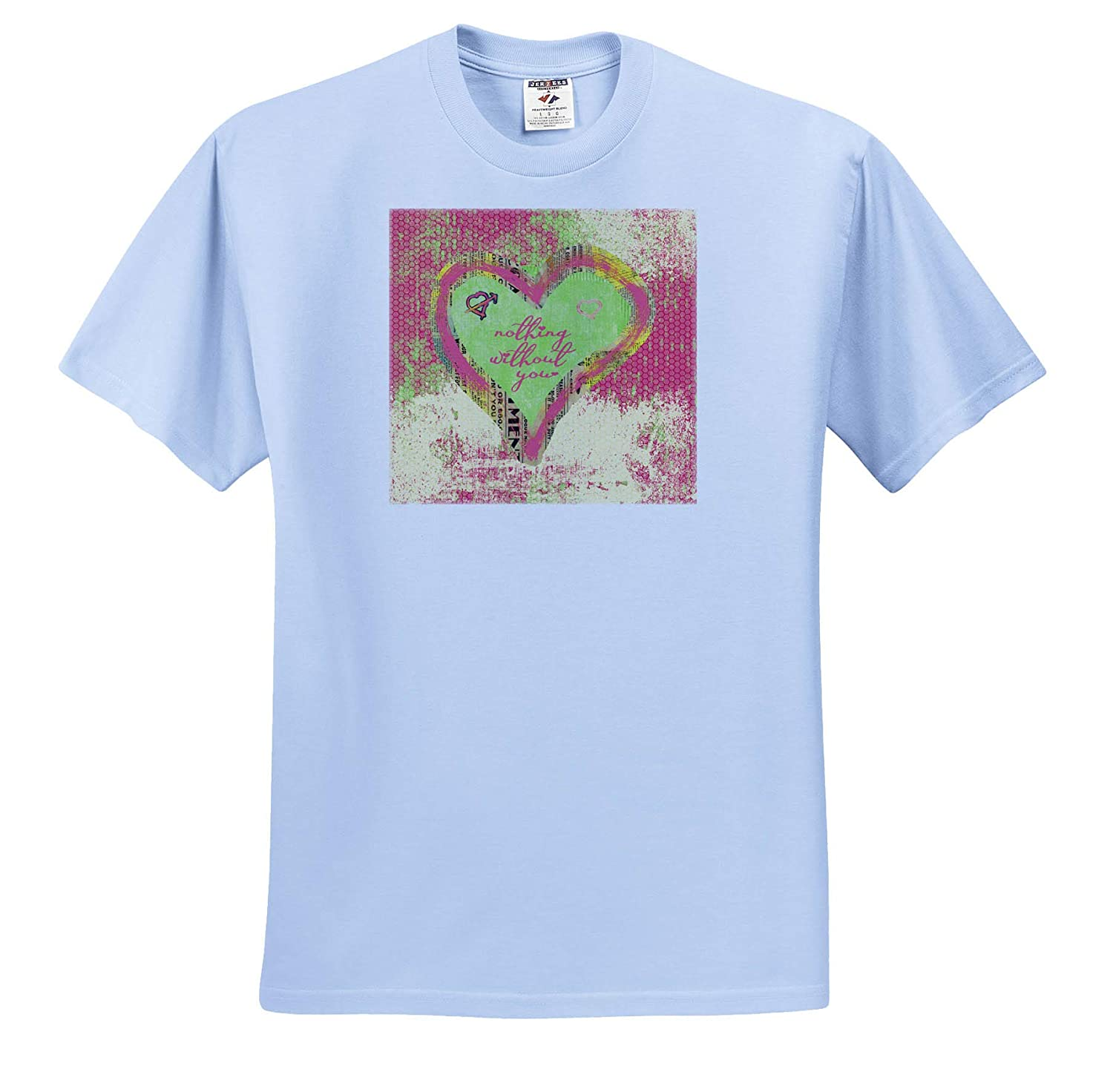 Colorful Heart of Newspaper Look T-Shirts Aged Look Paper 3dRose Beverly Turner Valentine Design Nothing Without You