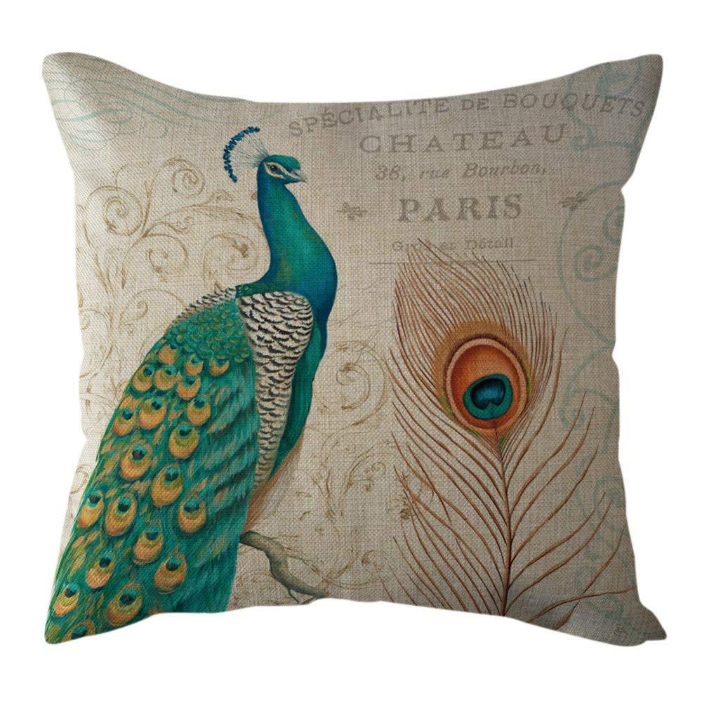 Pgojuni Cotton Linen Butterfly Home Decorative Throw Pillow Case Waist Cushion Throw Pillow Case for Sofa/Couch 1pc 45X45 cm (J)