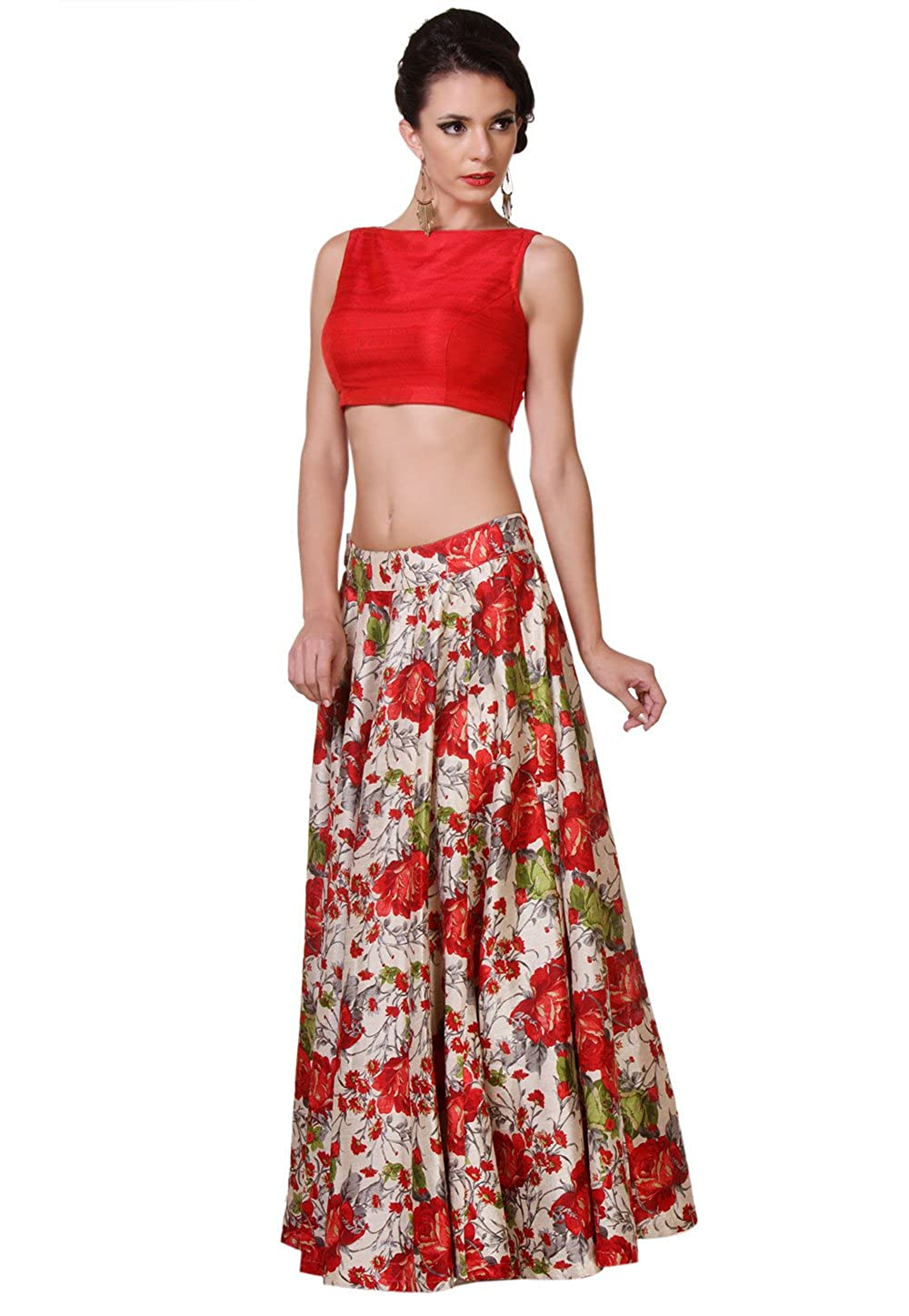 def07aa9e73 Utsav Fashion Women's Raw Silk Readymade Top Skirt 38 Red: Amazon.co.uk:  Clothing