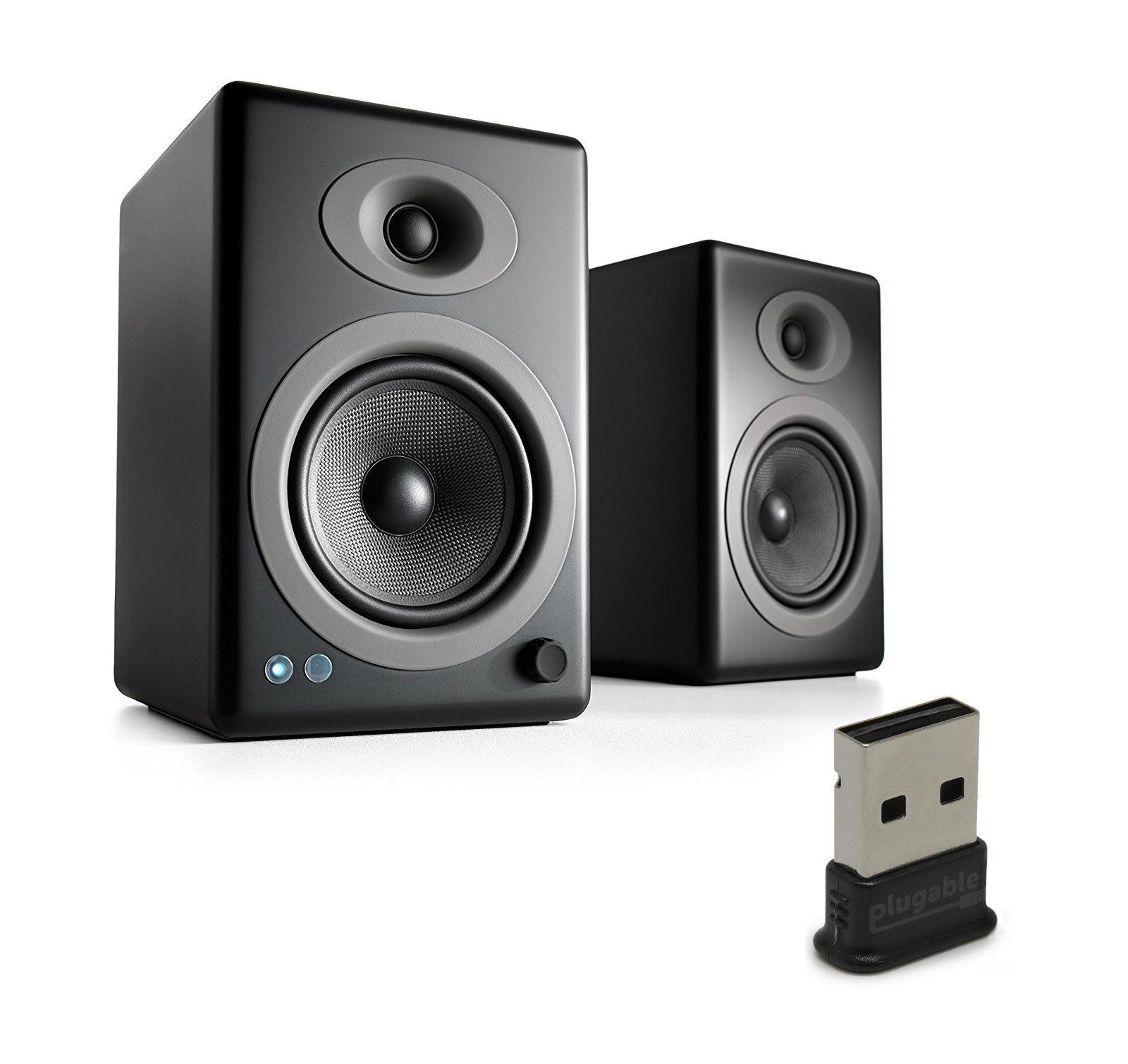 Audioengine A5+ Wireless Speakers (Pair) with Plugable USB 2.0 Bluetooth Adapter (Black) by Audioengine (Image #1)