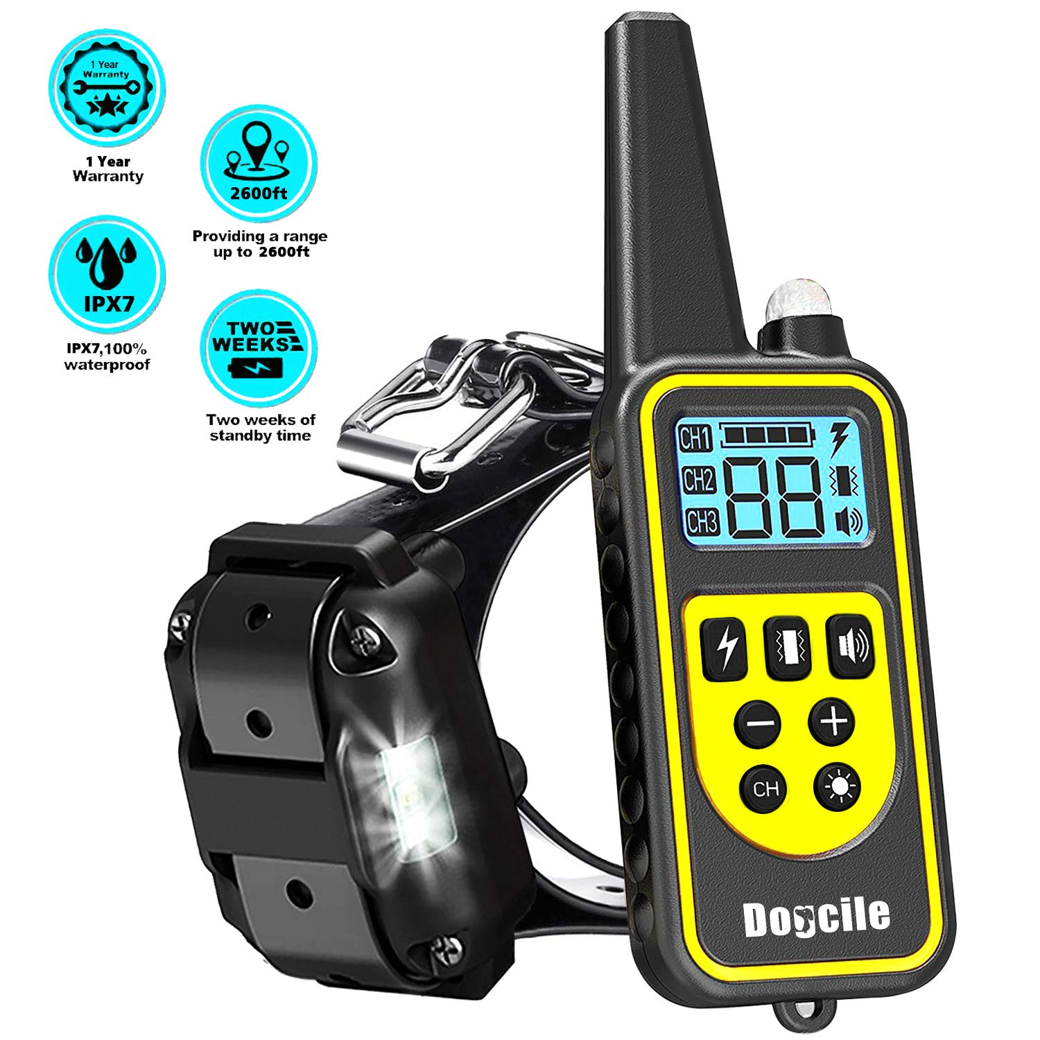 LINNSE 500m Waterproof and Rechargeable Static Shock Vibration Dog Collars Remote Control Dog Training Collar