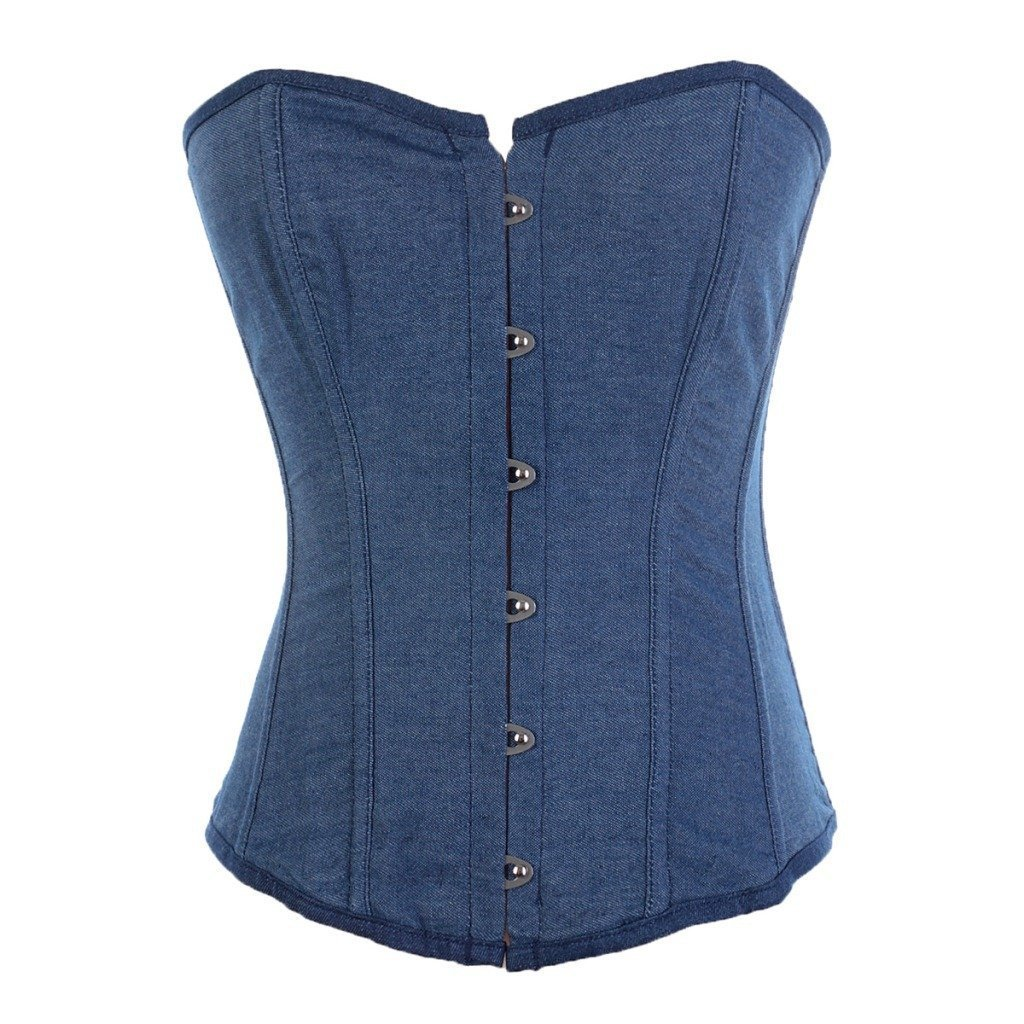Denim Jean Waist Cincher Corset Lace up Boned Underwear Blue
