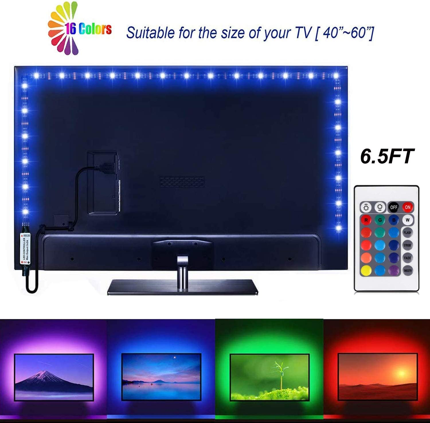 Tira de luces LED de 6,56 pies para TV SADES de 40 – 60 pulgadas USB LED TV Backlight Kit con mando a distancia TV Backlight Kit para pantalla plana TV, PC: Amazon.es: Iluminación