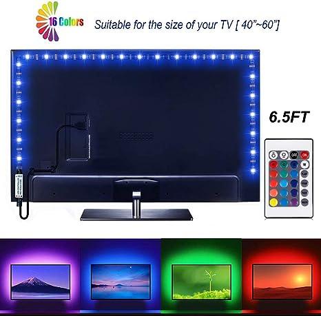 Tira de luces LED de 6,56 pies para TV SADES de 40 – 60 pulgadas USB LED TV Backlight Kit con mando a distancia TV Backlight Kit para pantalla plana TV, PC: Amazon.es: Iluminación