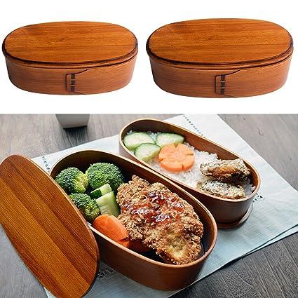 TOOGOO Holz Lunch Boxen Lebensmittelbehaelter Japanischen Stil Bento Lunchbox fuer Kinder Schule Geschirr Schuessel Boxen Reiseveranstalter