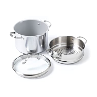 GreenPan CC000068-001 Venice Pro Stainless Steel 100% Toxin-Free Healthy Ceramic Nonstick Metal Utensil/Dishwasher/Oven Safe Stockpot And Steamer, 8-Quart, Light Grey