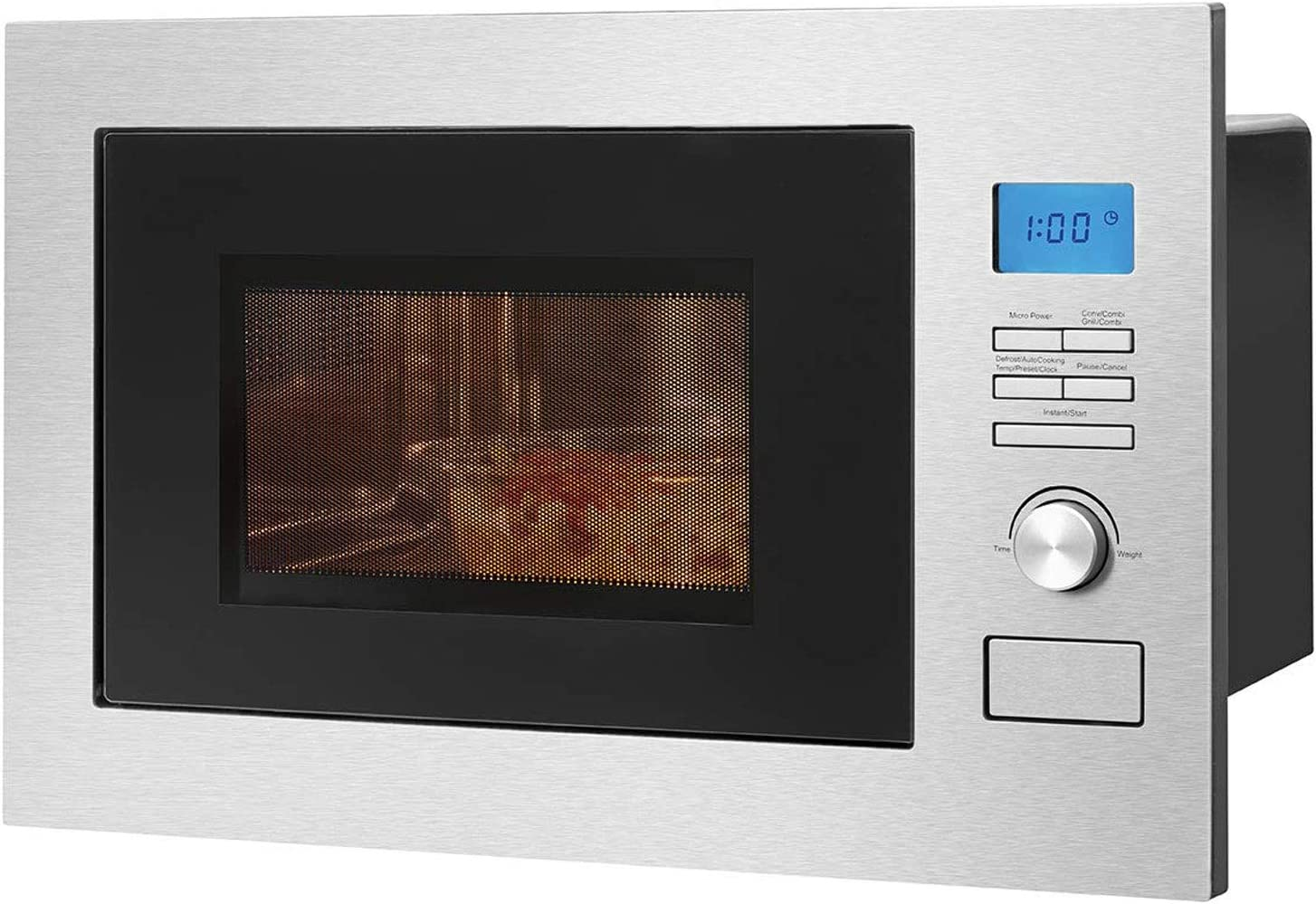 Bomann MWG 3001 H EB - Microondas 3 en 1 con grill y aire caliente, pantalla LCD, 8 programas automáticos, función de temporizador, 25 L de espacio de cocción, frontal e interior de acero inoxidable
