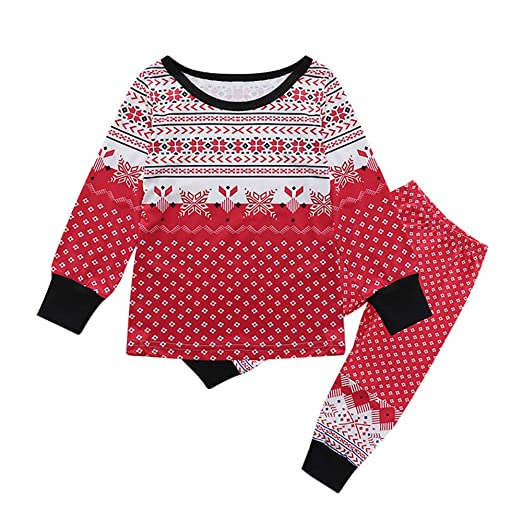3758eacf79 Amazon.com  Baulody Christmas Boys Girls Pajamas Cotton Kids PJS Toddler  Sleepwear Pant Set  Clothing