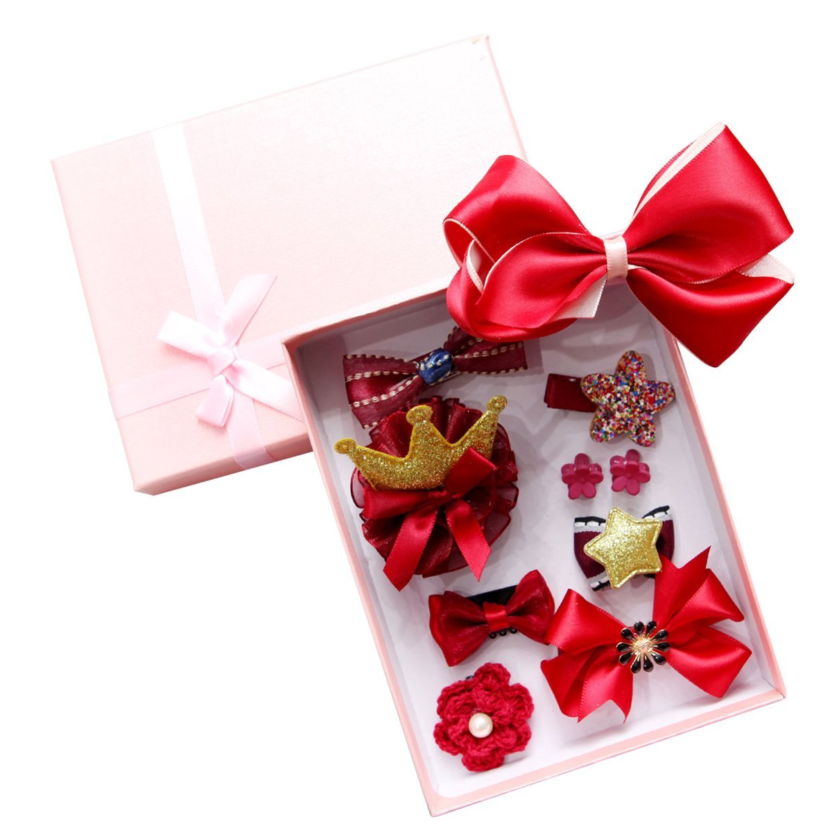 ZhengYue 10 Pcs Girl Bowknot Flower Hair Accessories Set Hair Clip Multi-Style Bow Hairpin Ribbon Xmas Gift