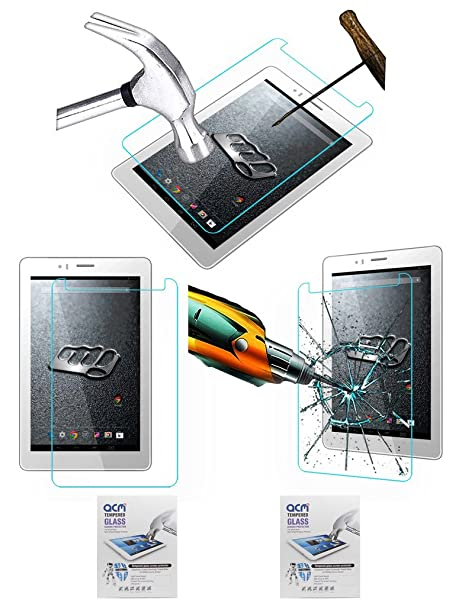 Acm Pack of 2 Tempered Glass Screenguard Compatible with Micromax Canvas Tab P470 Tablet Screen Guard Scratch Protector Tablet Accessories