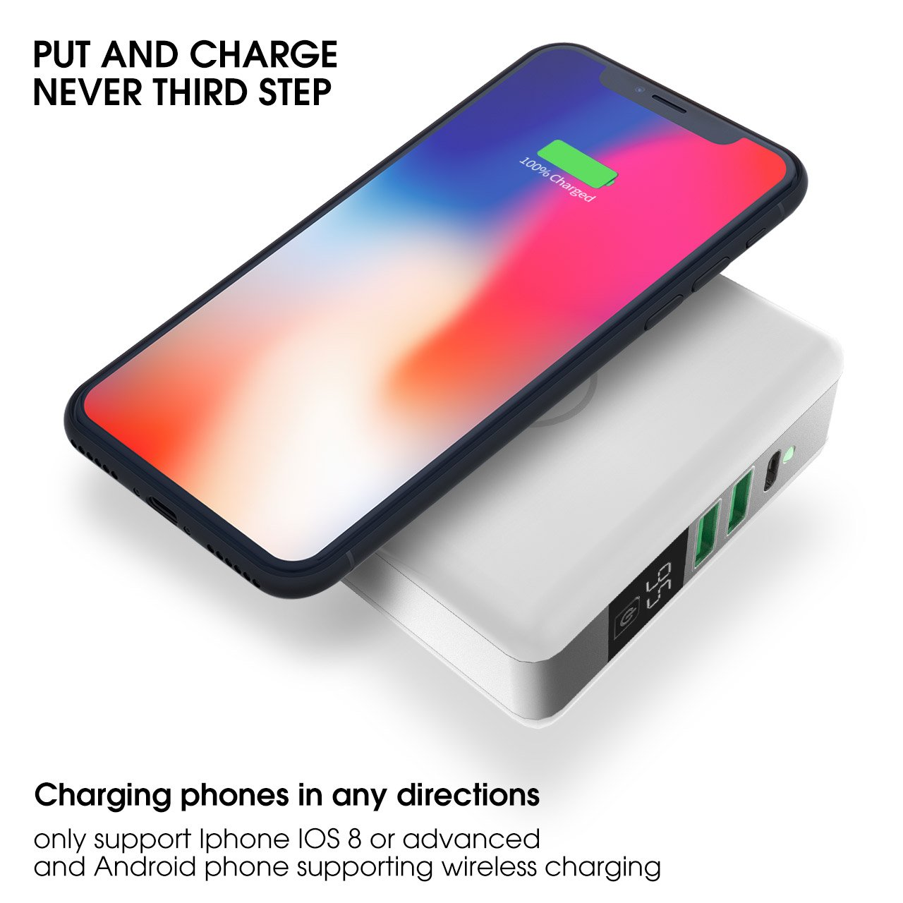 Wireless Charging & Power Bank 6700 mAh USB & USB Type C Support