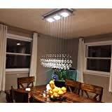 """7PM H39"""" x W25'' Modern Chandelier Rain Drop Lighting Crystal Ball Fixture Pendant Ceiling Lamp for Dining Room Over Table"""