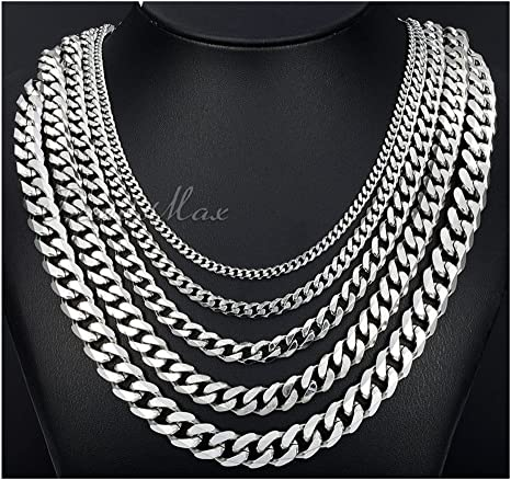 4.5mm Stainless Steel Silver Cuban Link Chain MEN NECKLACES DIY Jewelry Making