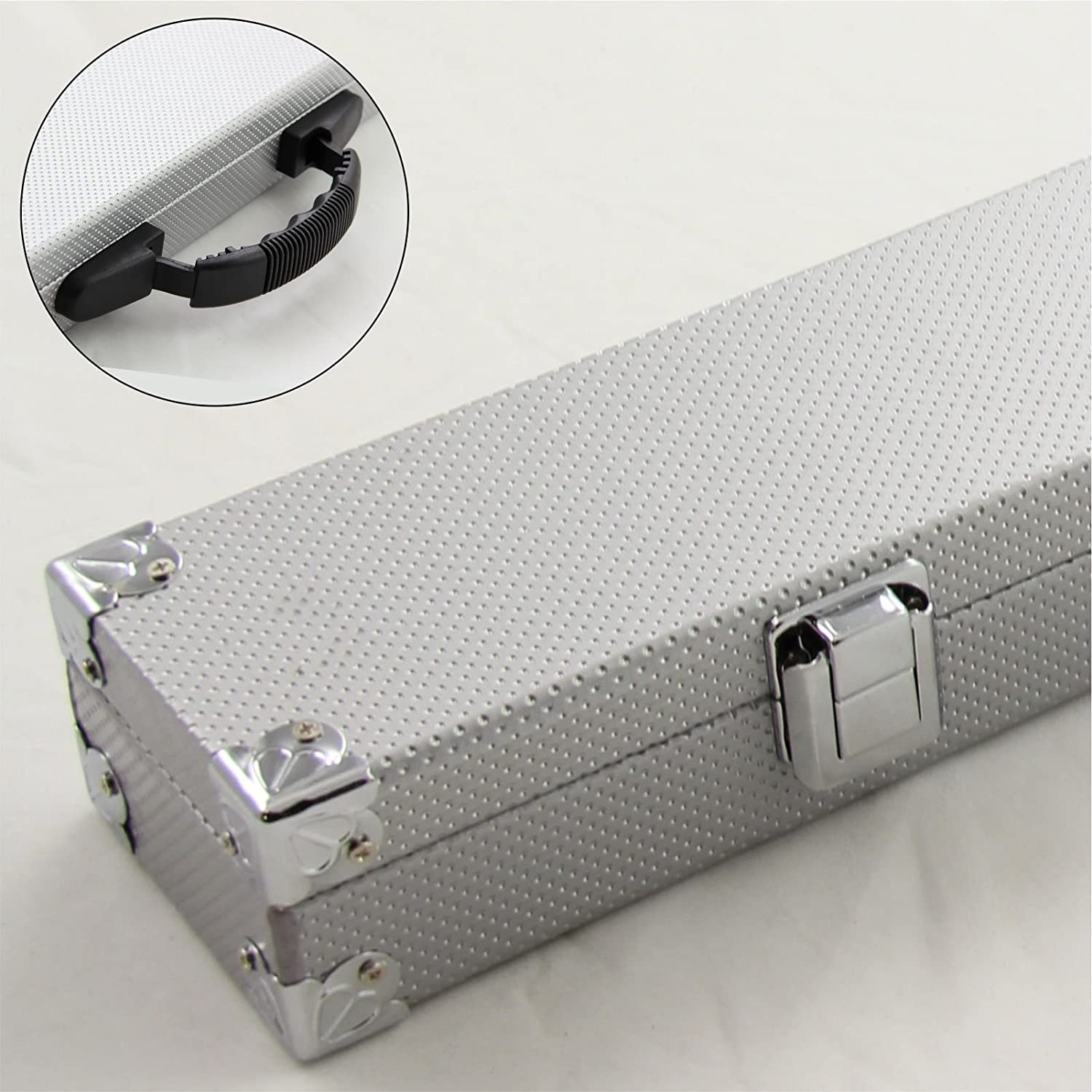 2pc SILVER Cue Case With Reinforced Corners for Snooker Pool Cue by Funky Chalk