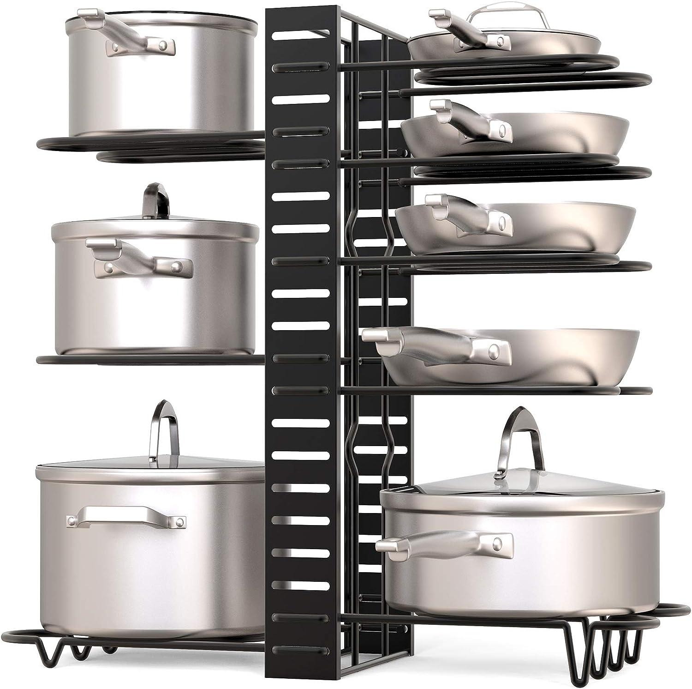 Amazon Com Geekdigg Pot Rack Organizer 3 Diy Methods Height And Position Are Adjustable 8 Pots Holder Black Metal Kitchen Cabinet Pantry Pot Lid Holder Upgraded Kitchen Dining