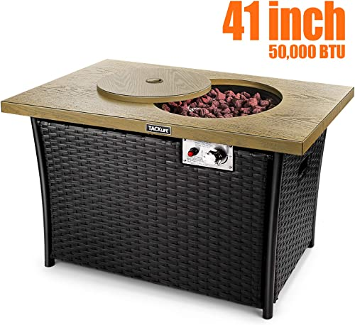 TACKLIFE Propane Fire Pit Table, 41 Inch 50,000 BTU Gas Fire Pit Table, Special high-Grade Rattan, Hand-Woven,Outdoor Companion, ETL Certification, Imitation Wood, Strong Steel Surface
