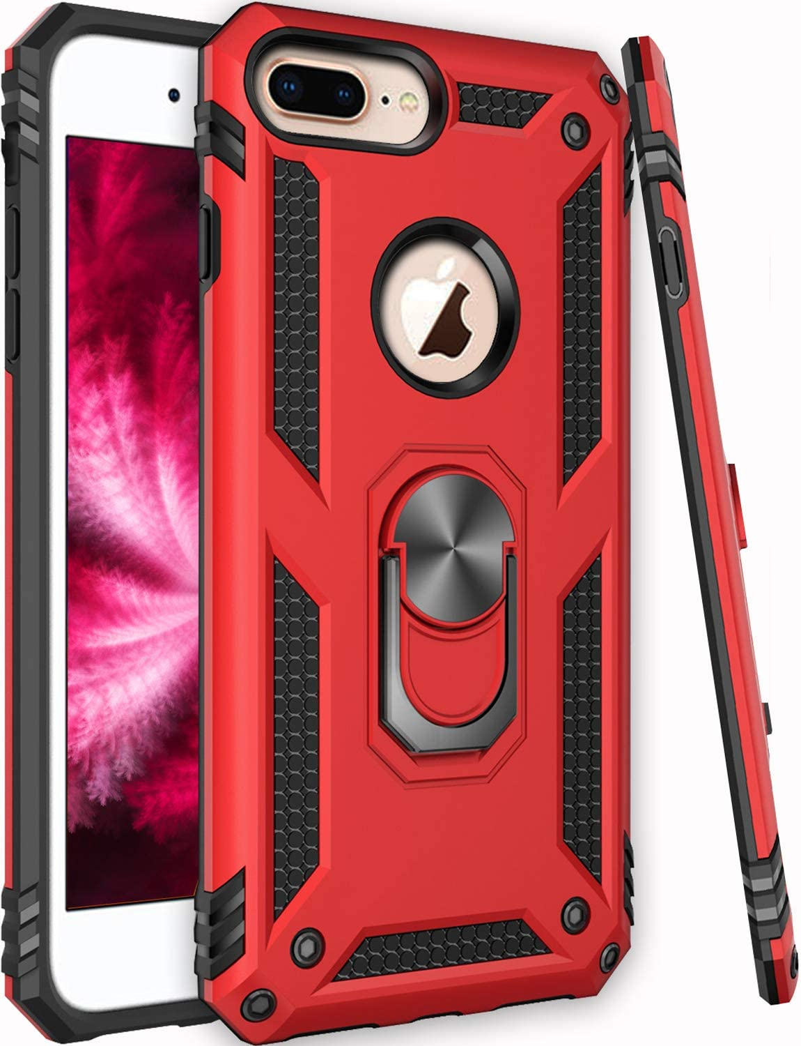 Universal for iPhone 8 Plus Case,iPhone 7 Plus Case,iPhone 6 6s Plus Case,ZADORN 15ft Drop Tested Military Grade Heavy Duty Slim Fit Protective Phone Case for iPhone 6 6S Plus/7 Plus/8 Plus Red