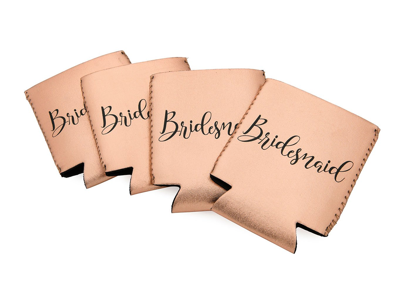 Miamica Bridesmaid Drink Sleeves Or Can Coolers, Rose Gold