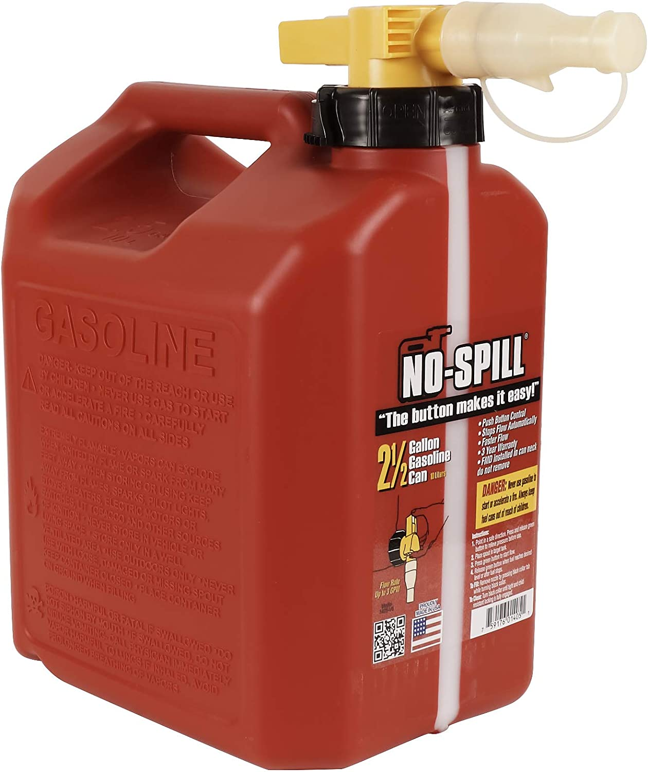 No-Spill 1405 2-1//2-Gallon Poly Gas Can