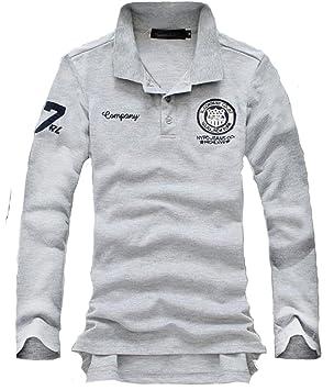 cadc8a374d5e9d Bekoo(ベクー) メンズ ポロシャツ 長袖 シンプル ワンポイント ワッペン 刺繍 付き ゴルフウェア (