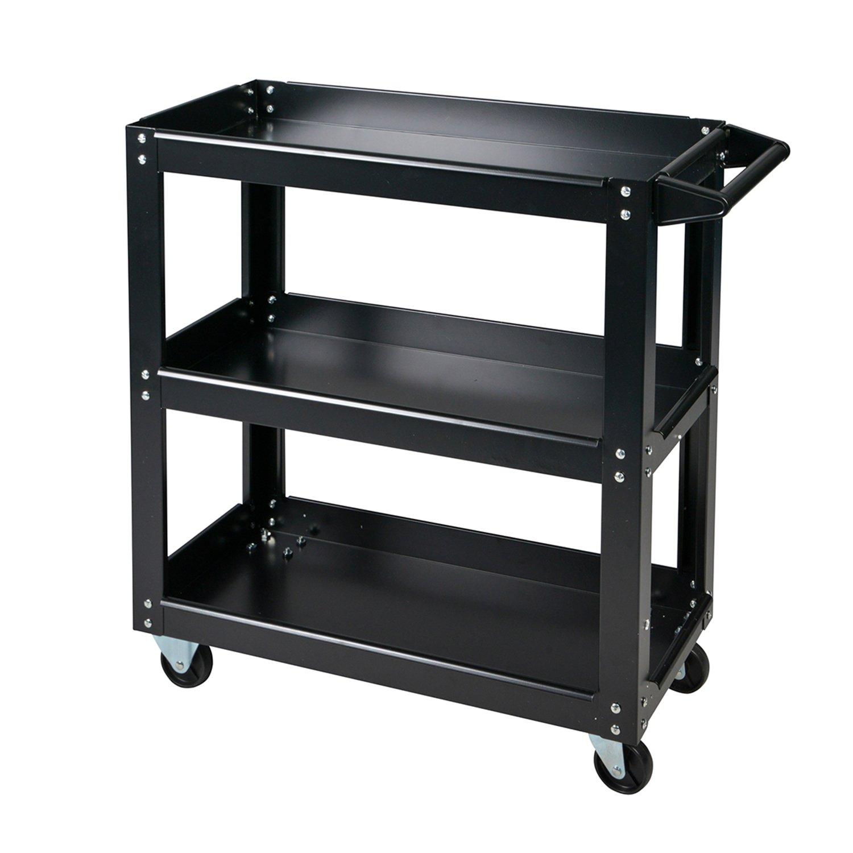 Enjoi Tool Service Cart 3-Tray Utility Tool Organizer Rolling Trolley Workshop Garage (Black)