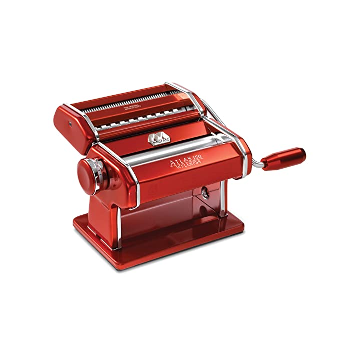 Marcato Atlas Machine 8334, Made in Italy, Stainless Steel, Includes Pasta Cutter, Hand Crank, and Instructions, Red, Red
