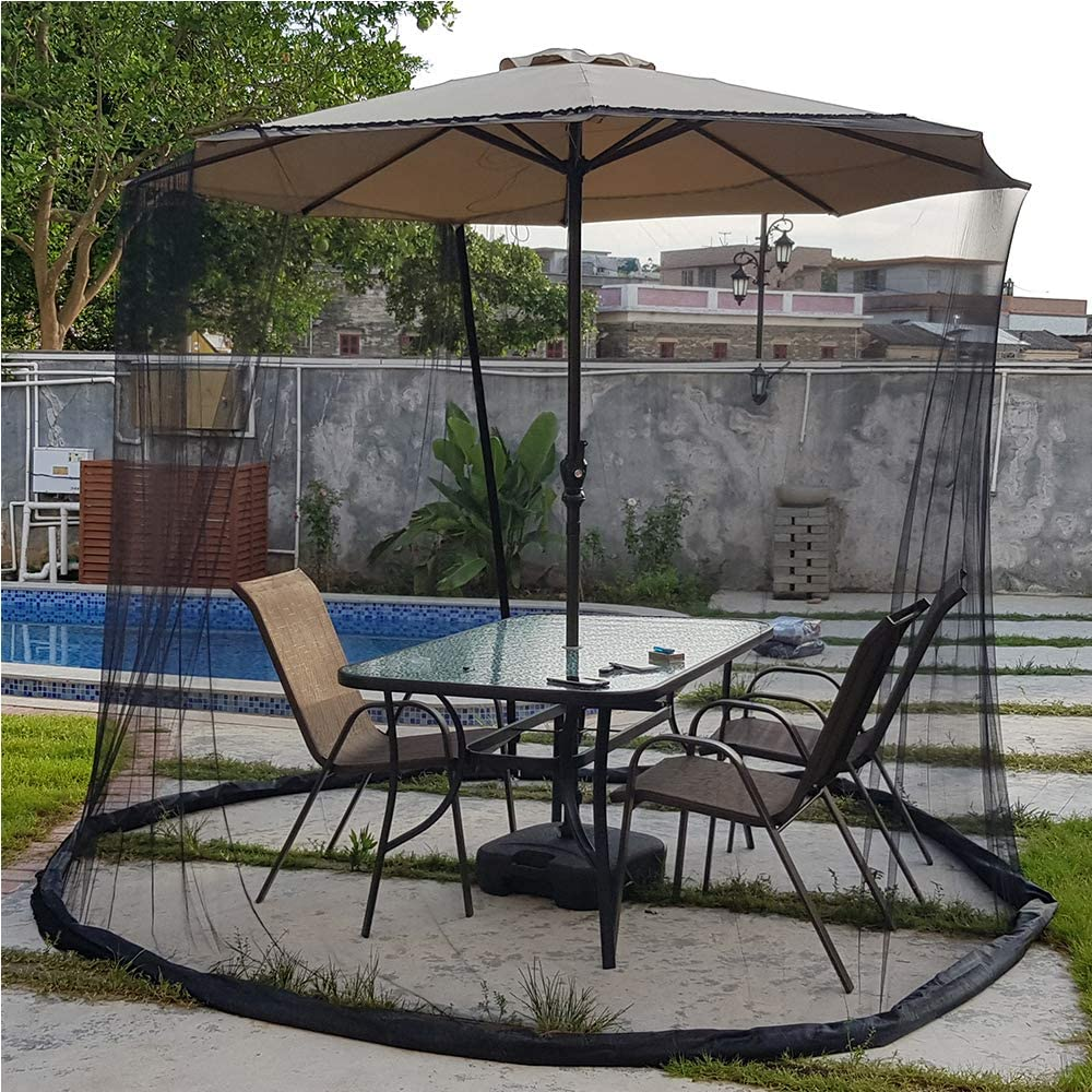 Patio Umbrella Mosquito Nets,Polyester Mesh Net Screen,with Zipper Door and Adjustable Rope,Fits 8-10FT Outdoor Umbrellas and Patio Tables